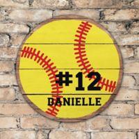 Softball Personalized Round Wood Sign