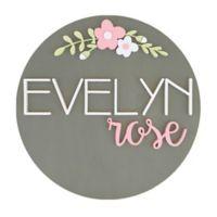Polymath Mom Dark Pink/White Floral Arch Name 18-Inch Round Wood Wall Art in Grey
