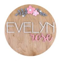 Polymath Mom Dark Pink/Light Pink Floral Arch Name 18-Inch Round Wood Wall Art in Oak