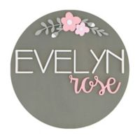 Polymath Mom Floral Arch Name 24-Inch Round Wood Wall Art in Grey