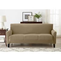 Great Bay Home Seneca Velvet Strapless Sofa Slipcover in Warm Sand