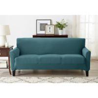 Great Bay Home Seneca Velvet Strapless Sofa Slipcover in Teal