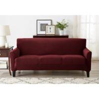 Great Bay Home Seneca Velvet Strapless Sofa Slipcover in Burgundy