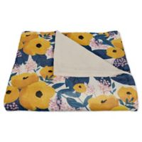 Designs Direct Floral Fleece Throw Blanket in Yellow