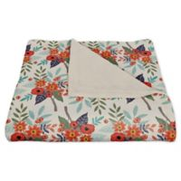 Designs Direct Floral Fleece Throw Blanket in Orange