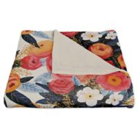 Designs Direct Floral Fleece Throw Blanket in Pink