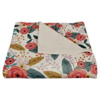 Designs Direct Floral Fleece Throw Blanket in Blush