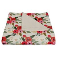 Designs Direct Floral Fleece Throw Blanket in Red