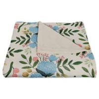 Designs Direct Floral Fleece Throw Blanket in Blue