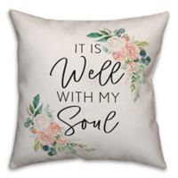 """Designs Direct """"It Is Well With My Soul"""" Square Throw Pillow in Pink"""
