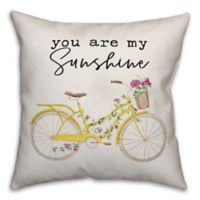 """Designs Direct """"You Are My Sunshine"""" Square Throw Pillow in Yellow"""