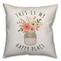 """Designs Direct """"This Is My Happy Place"""" Square Throw Pillow in Pink"""