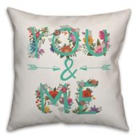 """Designs Direct """"You & Me"""" Square Throw Pillow in Teal"""