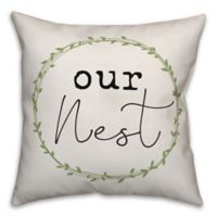 """Designs Direct """"Our Nest"""" Wreath Square Throw Pillow in Green"""
