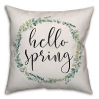"""Designs Direct """"Hello Spring"""" Wreath Square Throw Pillow in Green"""