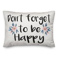 "Designs Direct ""Don't Forget To Be Happy"" Oblong Throw Pillow in Blue"