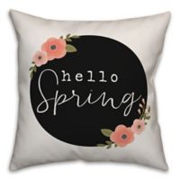 "Designs Direct ""Hello Spring"" Square Throw Pillow in Black"