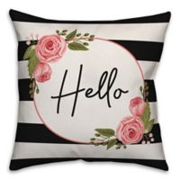 Designs Direct Hello Floral Stripes Square Throw Pillow in Black
