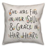 """Designs Direct """"Fire In Her Soul"""" Square Throw Pillow in Black"""