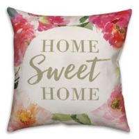 """Designs Direct """"Home Sweet Home"""" Floral Square Throw Pillow in Pink"""