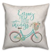 "Designs Direct ""Enjoy The Little Things"" Square Throw Pillow in White"