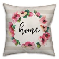 Designs Direct Home Floral Wreath Square Throw Pillow in Pink
