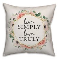 "Designs Direct ""Live Simply, Love Truly"" Square Throw Pillow in Pink"
