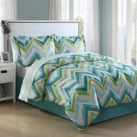 Conner Chevron Twin XL Comforter Set in Aqua