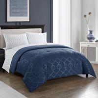 Harper 5-Piece Queen Comforter Set in Indigo