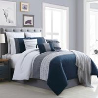 Hilden 10-Piece Full Comforter Set in Navy/Grey