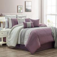 Hilden 10-Piece Queen Comforter Set in Purple