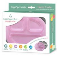 Sage Spoonfuls® Happy Foodie Stainless Steel Plate in Pink