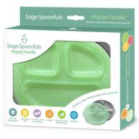 Sage Spoonfuls® Happy Foodie Stainless Steel Plate in Green