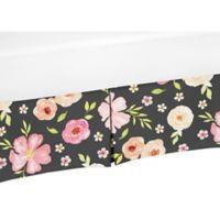 Sweet Jojo Designs Watercolor Floral Crib Skirt in Black/Pink