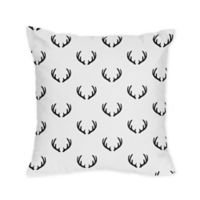 Sweet Jojo Designs® Woodland Camo Deer Print Square Throw Pillows in Black/White (Set of 2)