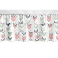 Sweet Jojo Designs Mod Arrow Crib Skirt in Mint/Coral