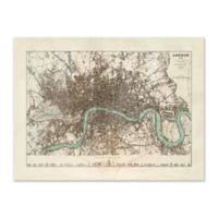 Vintage London Map 45.75-Inch x 35.75-Inch Framed Wall Art