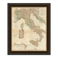 Vintage Italy Map 29-Inch x 35-Inch Framed Wall Art