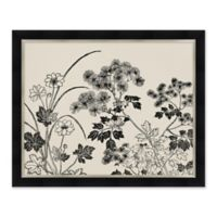 Black and White Floral 31.5-Inch x 25.5-Inch Framed Wall Art
