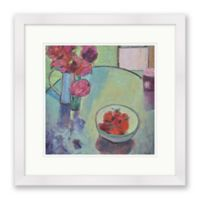 Strawberries and Peonies 18-Inch Square Framed Wall Art