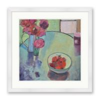 Strawberries and Peonies 24-Inch Square Framed Wall Art
