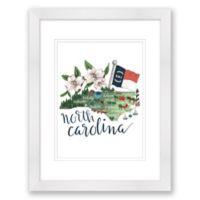 North Carolina 15-Inch x 18-Inch Framed Wall Art in White