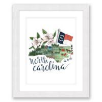 North Carolina 22.5-Inch x 27.5-Inch Framed Wall Art in White