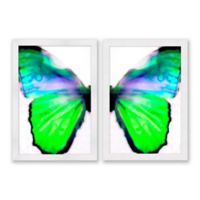 Butterfly 22.5-Inch x 31.5-Inch Paper Framed Print Set of 2