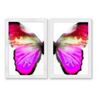 Purple Pink Dip Butterfly 22.5-Inch x 31.5-Inch Framed Wall Art (Set of 2)