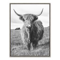Cow 31.75-Inch x 41.75-Inch Framed Canvas in Black/white