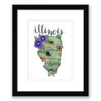Illinois 15-Inch x 18-Inch Paper Framed Wall Art in Black