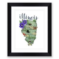 Illinois 22.5-Inch x 27.5-Inch Paper Framed Wall Art in Black