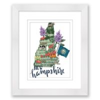New Hampshire Paper 15-Inch x 18-Inch Framed Wall Art in White