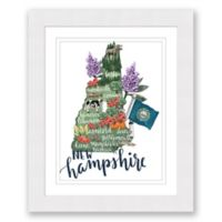 New Hampshire Paper 22.5-Inch x 27.5-Inch Framed Wall Art in White